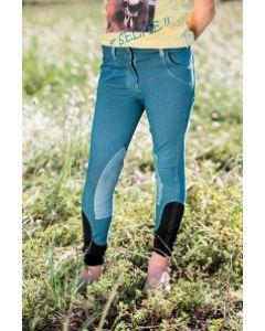 Horseware Kids Knitted Denim Breeches Brittany Blue