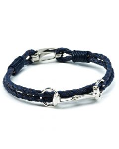 Hiho Silver Exclusive Equestrian Sterling Silver Snaffle Leather Bracelet Navy