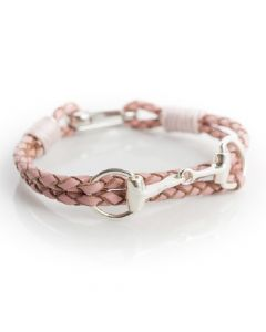 Hiho Silver Exclusive Equestrian Sterling Silver Snaffle Leather Bracelet Pink