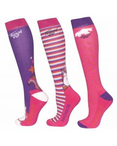Toggi Ladies 3 Pack Lilith Character Socks Plum Unicorn Print