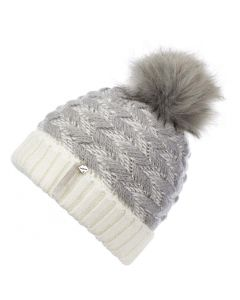 LeMieux Ladies Banff Pom Pom Beanie Hat Silver Grey