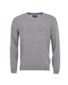 Barbour Mens Essential Lambswool V Neck Sweater Grey Marl