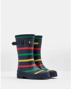 Joules Jnr Printed Wellies Navy Marl Stripe