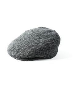 Failsworth Stornoway Harris Tweed Flat Cap Grey Herringbone