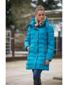 Mark Todd Ladies Deluxe Long Padded Coat Petrol
