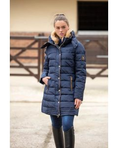 Mark Todd Ladies Deluxe Long Padded Coat Navy