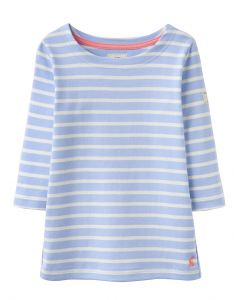 Joules Jnr Harbour Luxe Jersey Tee Shirt Sky Blue Stripe
