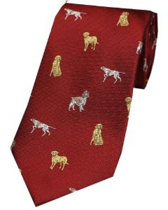 Sax Mens Dogs Country Silk Tie Red