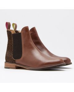 Joules Ladies Westbourne Leather Chelsea Boots Ocelot