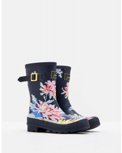 Joules Ladies Molly Mid Height Welly Navy Whitstable Floral