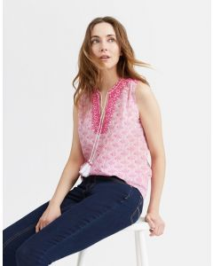 Joules Ladies Otille Sleeveless Embroidered Top Pink Daisy Foulard
