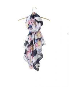 Joules Ladies Wensley Longline Scarf Stripe White