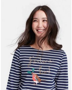 Joules Ladies Harbour Print Jersey Top French Navy Festive Bird