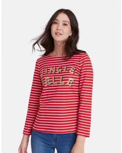 Joules Ladies Harbour Print Jersey Top Jingle Belle