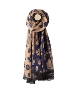 Joules Ladies Jacquelyn Scarf Navy Etched Botanical