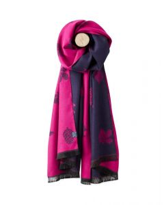 Joules Ladies Jacquelyn Scarf Ruby Pink Etched Animals