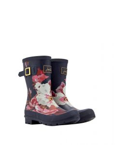 Joules Ladies Molly Mid Height Welly French Navy Bircham Bloom