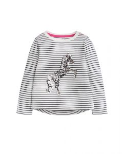 Joules Junior Ava Long Sleeve Top French Navy Stripe Unicorn