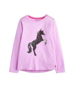 Joules Junior Ava Long Sleeve Top Neon Mauve Unicorn