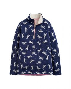 Joules Junior Luxe Fairdale Half Zip Sweatshirt Navy Glitter Unicorn