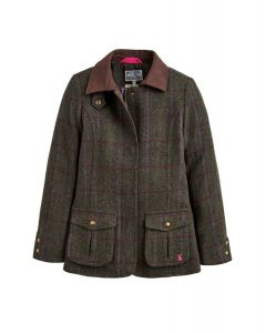 Joules Junior Tweed Fieldcoat Green Check