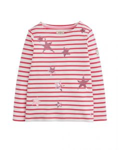Joules Junior Luxe Harbour Jersey Top Deep Pink Stripe Star