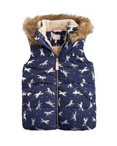 Joules Junior Rhea Padded Gilet Navy Glitter Unicorn