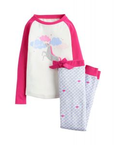 Joules Junior Sleepwell Jersey Pyjama Set Cream Unicorn