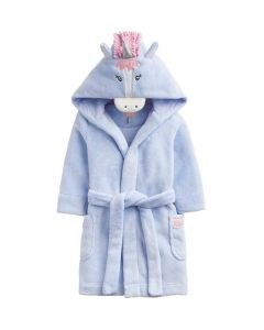 Joules Junior Unicorn Hooded Dressing Gown Sky Blue