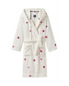 Joules Ladies Rita Hooded Fleece Dressing Gown Cream Fuchsia Star