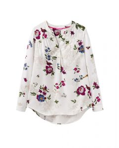 Joules Ladies Rosamund Woven Printed Blouse Cream Woodland Floral