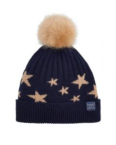 Joules Ladies Saffy Intarsia Knitted Bobble Hat Navy Star