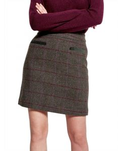 Joules Ladies Sheridan Tweed Skirt Green Check