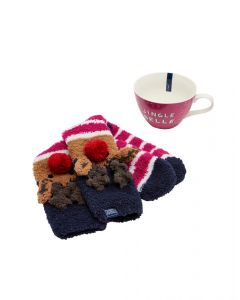 Joules Ladies Festive Fluffy Sock & Mug Jingle Belle Gift Set